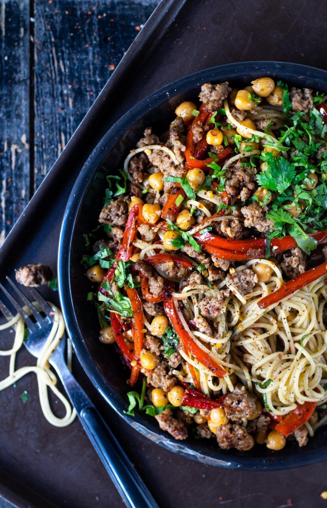 kikkererwten met spaghetti